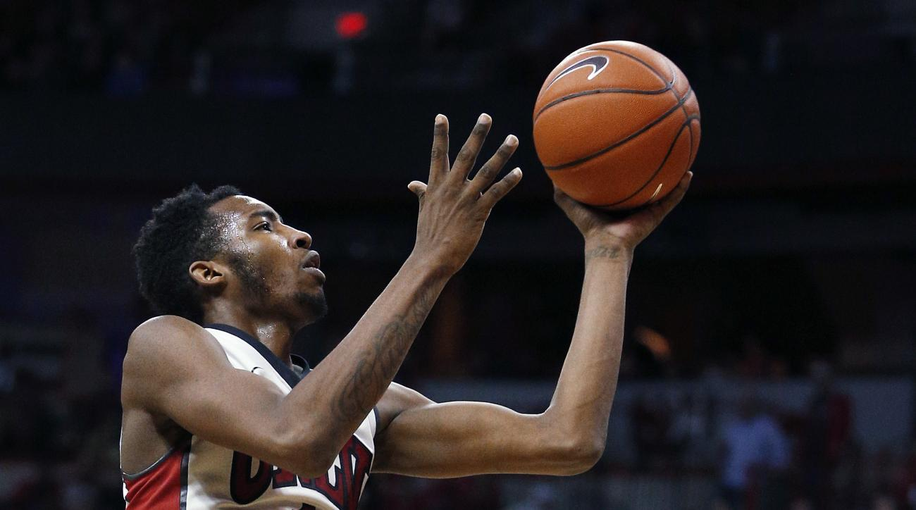 UNLV forward Derrick Jones Jr. shoots against Air Force during the second half of an NCAA college basketball game Saturday, Jan. 16, 2016, in Las Vegas. UNLV won 100-64. (AP Photo/John Locher)