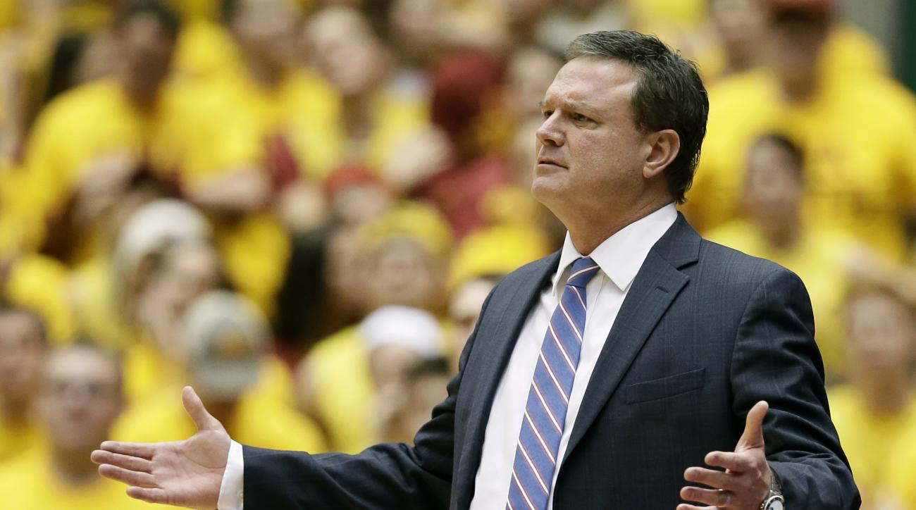 Kansas head coach Bill Self reacts to a call during the second half of an NCAA college basketball game against Iowa State, Monday, Jan. 25, 2016, in Ames, Iowa. Iowa State won 85-72. (AP Photo/Charlie Neibergall)