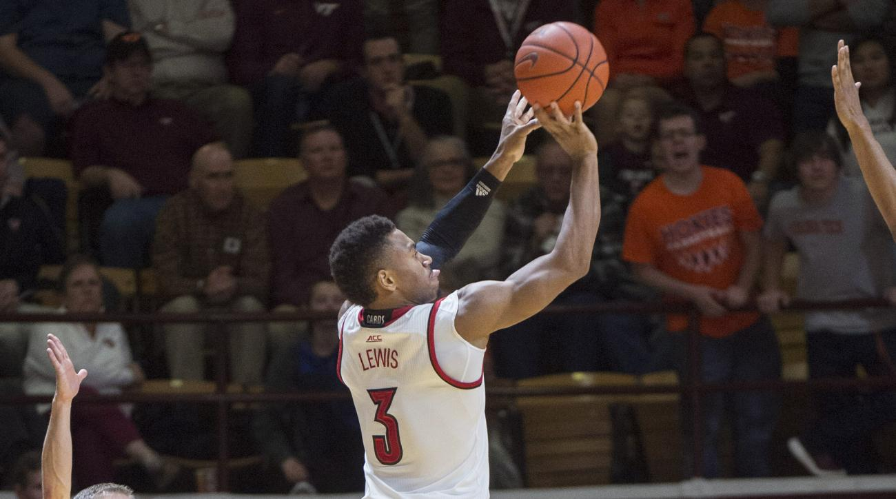 Louisville guard Trey Lewis (3) shoots a 3-pointer during the second half of the team's NCAA college basketball game against Virginia Tech on Wednesday, Jan. 27, 2016, in Blacksburg, Va. Louisville won 91-83. (AP Photo/Don Petersen)