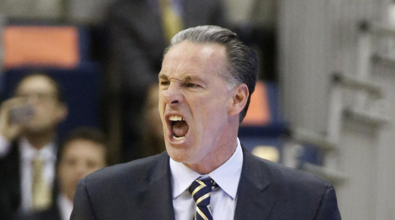 Pittsburgh head coach Jamie Dixon yells to his team as they ply against Virginia Tech during the first half of an NCAA college basketball game, Sunday, Jan. 31, 2016, in Pittsburgh. Pittsburgh won 90-71. (AP Photo/Keith Srakocic)