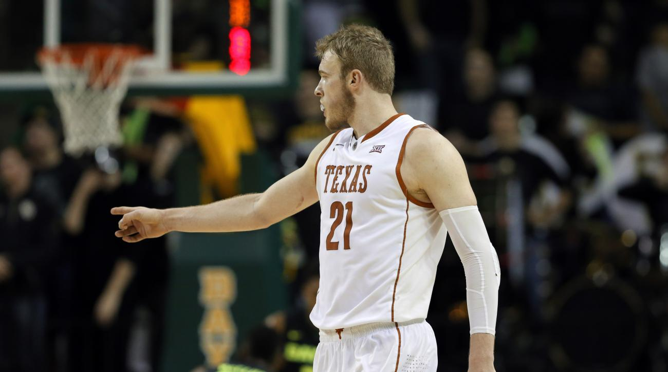 Texas forward Connor Lammert (21) celebrates after sinking a 3-point basket late in the second half of an NCAA college basketball game against Baylor on Monday, Feb. 1, 2016, in Waco, Texas. Lammert had 15 points, including a clutch 3-pointer in the final