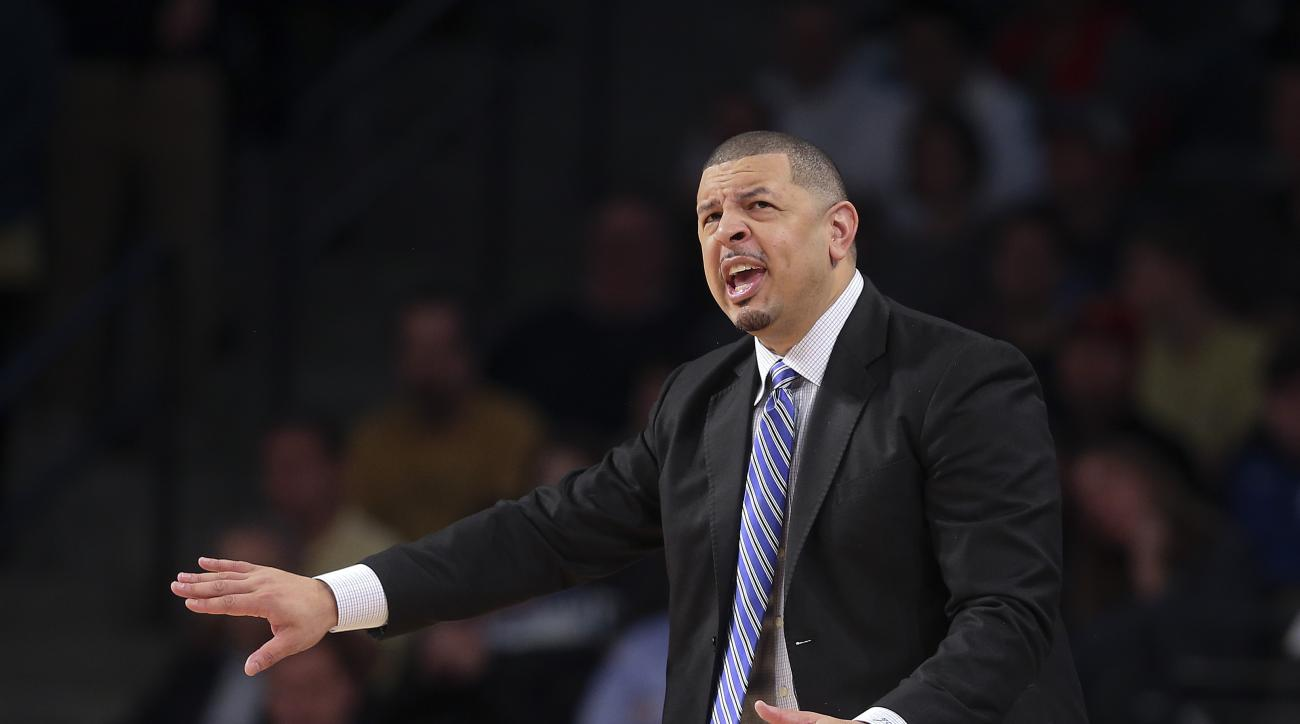 Duke associate head coach Jeff Capel yells to his team in the first half of an NCAA college basketball game against Georgia Tech on Tuesday, Feb. 2, 2016, in Atlanta. School officials issued a statement about an hour before tipoff saying Duke coach Mike K
