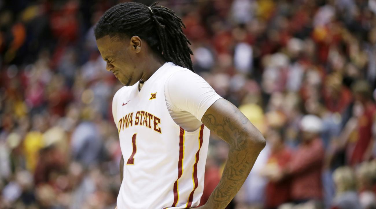 Iowa State forward Jameel McKay reacts at the end of an NCAA college basketball game against West Virginia, Tuesday, Feb. 2, 2016, in Ames, Iowa. West Virginia won 81-76. (AP Photo/Charlie Neibergall)