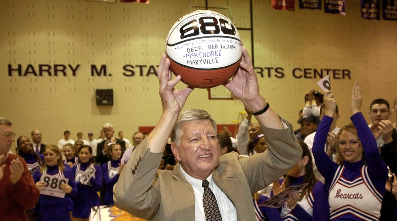FILE - In this Dec. 1, 2004, file photo, McKendree College men's basketball coach Harry Statham raises a basketball over his head after his 880th career coaching victory in Lebanon, Ill.4.  Statham has won 1,088 games in 50 seasons and the next victory wi