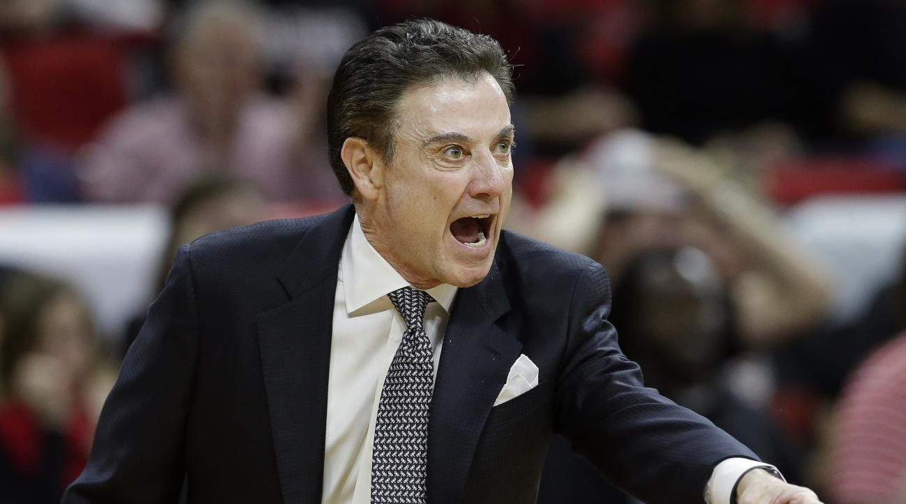 FILE - In this Jan. 7, 2016 file photo, Louisville coach Rick Pitino yells during the first half of an NCAA college basketball game against North Carolina State in Raleigh, N.C. Louisville has scheduled an unexpected press conference on Friday, Feb. 5, 20