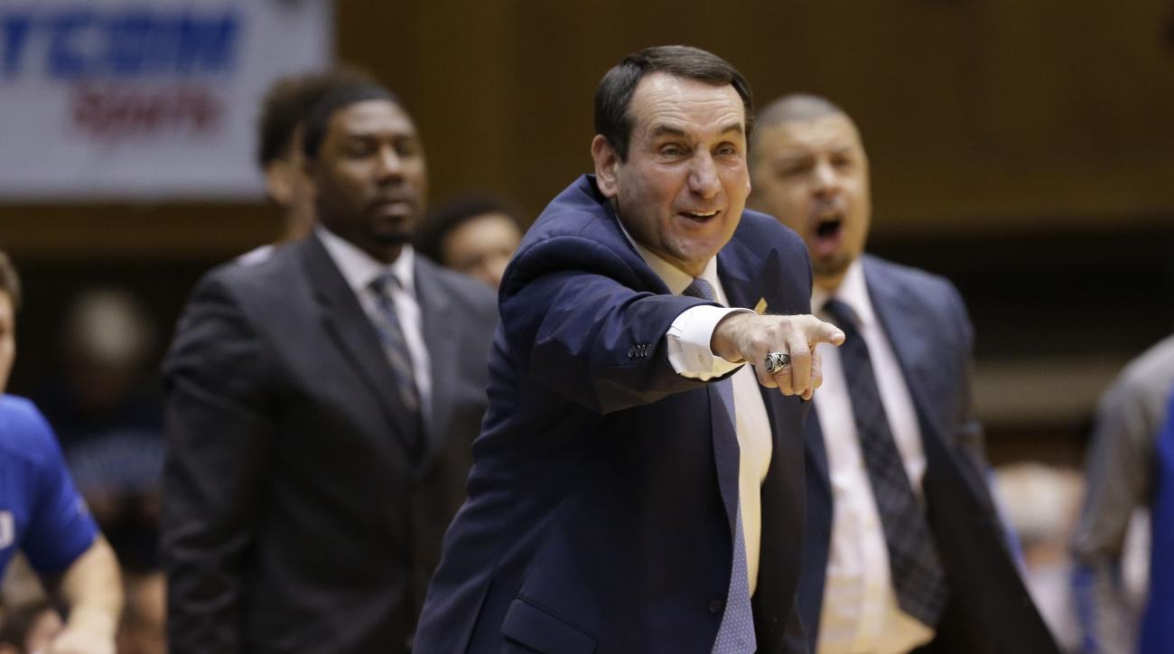 FILE - In this Saturday, Jan. 9, 2016 file photo, Duke head coach Mike Krzyzewski reacts during the first half of an NCAA college basketball game against Virginia Tech in Durham, N.C. Duke is trying to get back to being Duke again. First, the Blue Devils