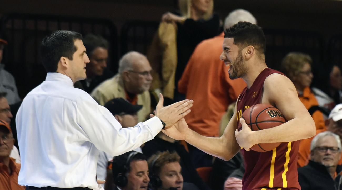 Iowa State guard Georges Niang, right, celebrates with head coach Steve Prohm following an NCAA college basketball game in Stillwater, Okla., Saturday, Feb. 6, 2016. Niang led Iowa State scoring with 18 points in the 64-59 win over Oklahoma State.(AP Phot