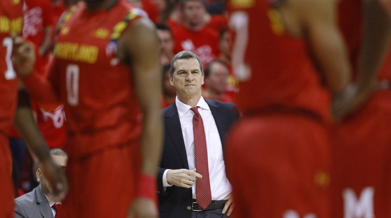 Maryland head coach Mark Turgeon watches from the sideline during a break in play in the first half of an NCAA college basketball game against Purdue, Saturday, Feb. 6, 2016, in College Park, Md. (AP Photo/Patrick Semansky)