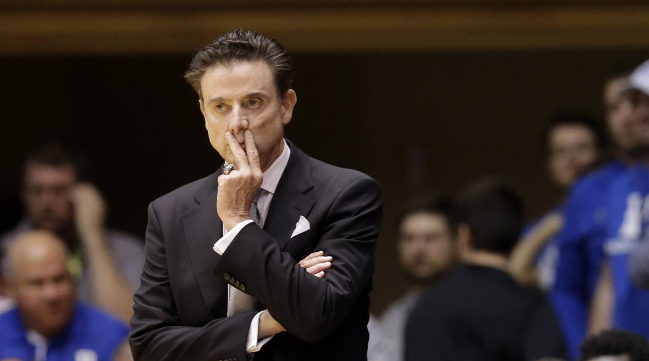 FILE - In this Monday, Feb. 8, 2016, file photo, Louisville head coach Rick Pitino watches during the first half of an NCAA college basketball game against Duke in Durham, N.C.  Pitino's men's basketball program won't play in the postseason due to the sch