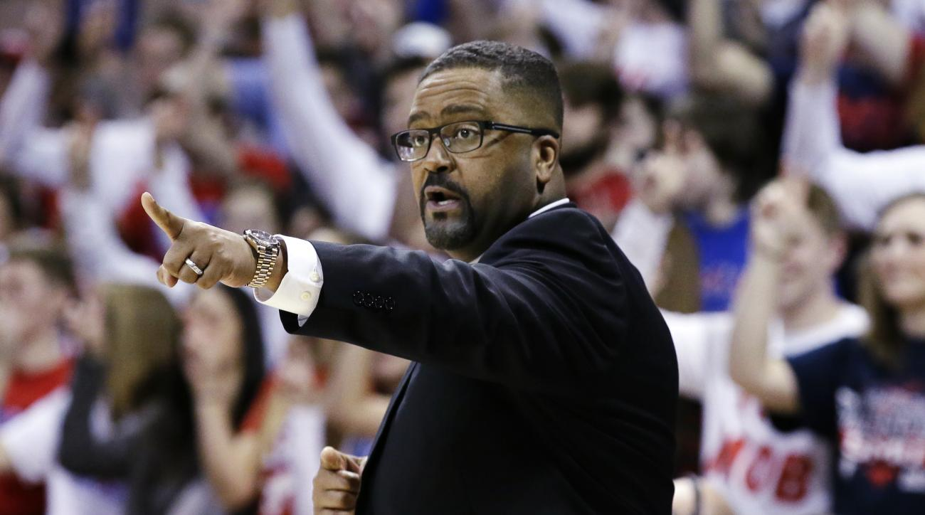 Tulsa head coach Frank Haith gives directions from the sidelines during the first half of an NCAA college basketball game against SMU Wednesday, Feb. 10, 2016, in Dallas. (AP Photo/LM Otero)