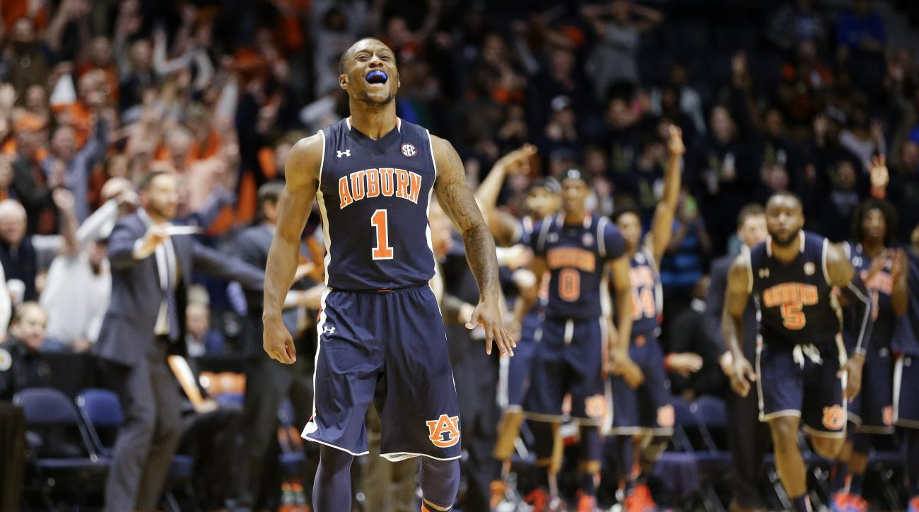 Auburn guard Kareem Canty (1) celebrates after hitting a shot against Middle Tennessee in the final seconds of the second half to tie their NCAA college basketball game and send it into overtime Saturday, Dec. 12, 2015, in Nashville, Tenn. Middle Tennesse