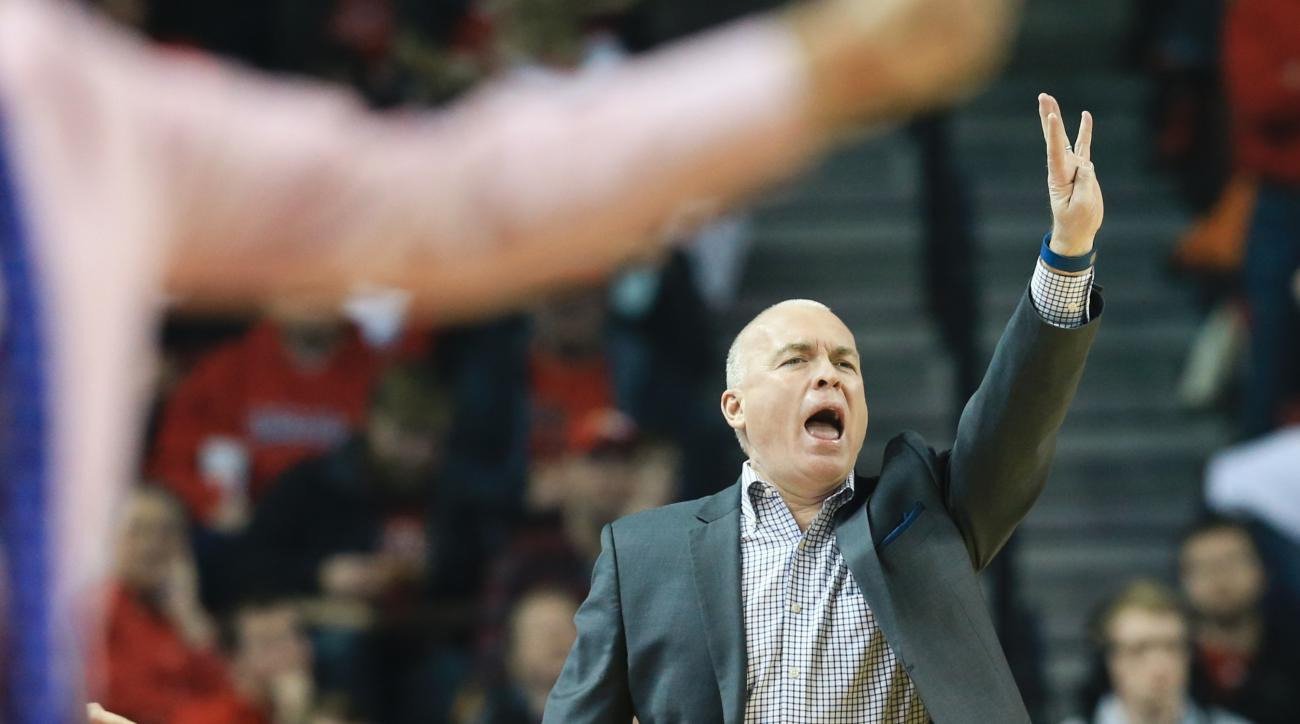Penn State coach Patrick Chambers signals a play during the first half of an NCAA college basketball game against Nebraska in Lincoln, Neb., Saturday, Feb. 13, 2016. (AP Photo/Nati Harnik)