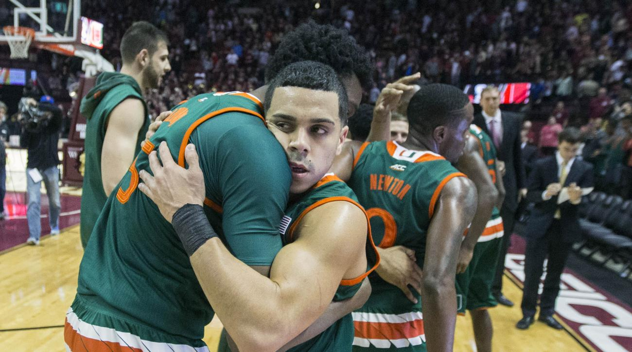 Miami center Ebuka Izundu, left, and Miami guard Angel Rodriguez celebrate defeating Florida State 67-65 an NCAA basketball game in Tallahassee, Fla., Sunday Feb. 14, 2016. Miami defeated Florida State 67-65. (AP Photo/Mark Wallheiser)