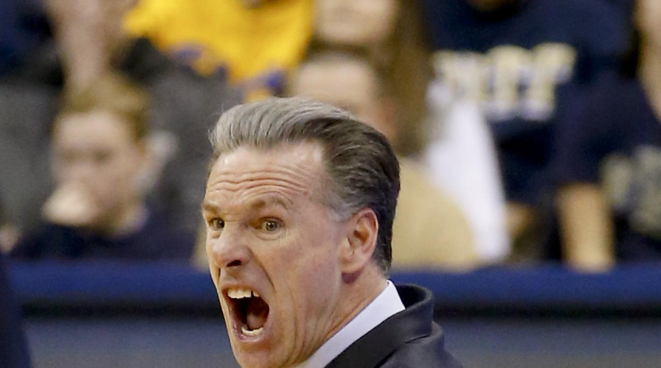 Pittsburgh head coach Jamie Dixon yells as his team plays against Wake Forest during the second half of an NCAA college basketball game, Tuesday, Feb. 16, 2016, in Pittsburgh. Pittsburgh won 101-96 in double overtime. (AP Photo/Keith Srakocic)