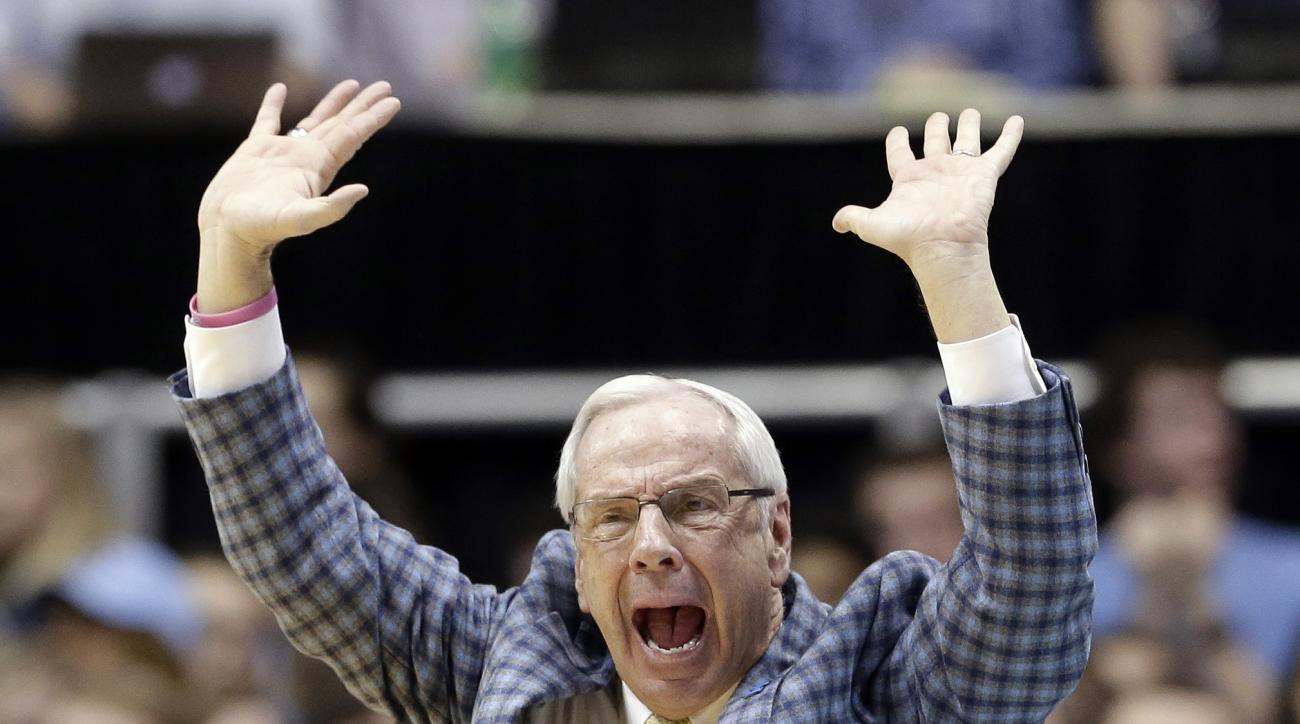 North Carolina coach Roy Williams reacts during the second half of an NCAA college basketball game against Miami in Chapel Hill, N.C., Saturday, Feb. 20, 2016. North Carolina won 96-71. (AP Photo/Gerry Broome)