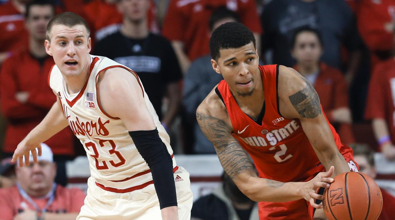 Ohio State's Marc Loving (2) intercepts a pass intended for Nebraska's Nick Fuller during the first half of an NCAA college basketball game in Lincoln, Neb., Saturday, Feb. 20, 2016. (AP Photo/Nati Harnik)