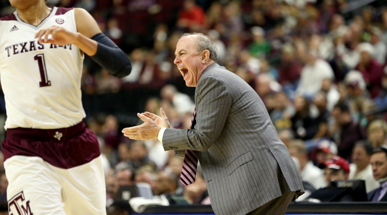 Mississippi State head basketball coach Ben Howland reacts as his team comes down the court during the first half of an NCAA college basketball game against Texas A&M, Wednesday, Feb. 24, 2016, in College Station, Texas.  (AP Photo/Sam Craft)
