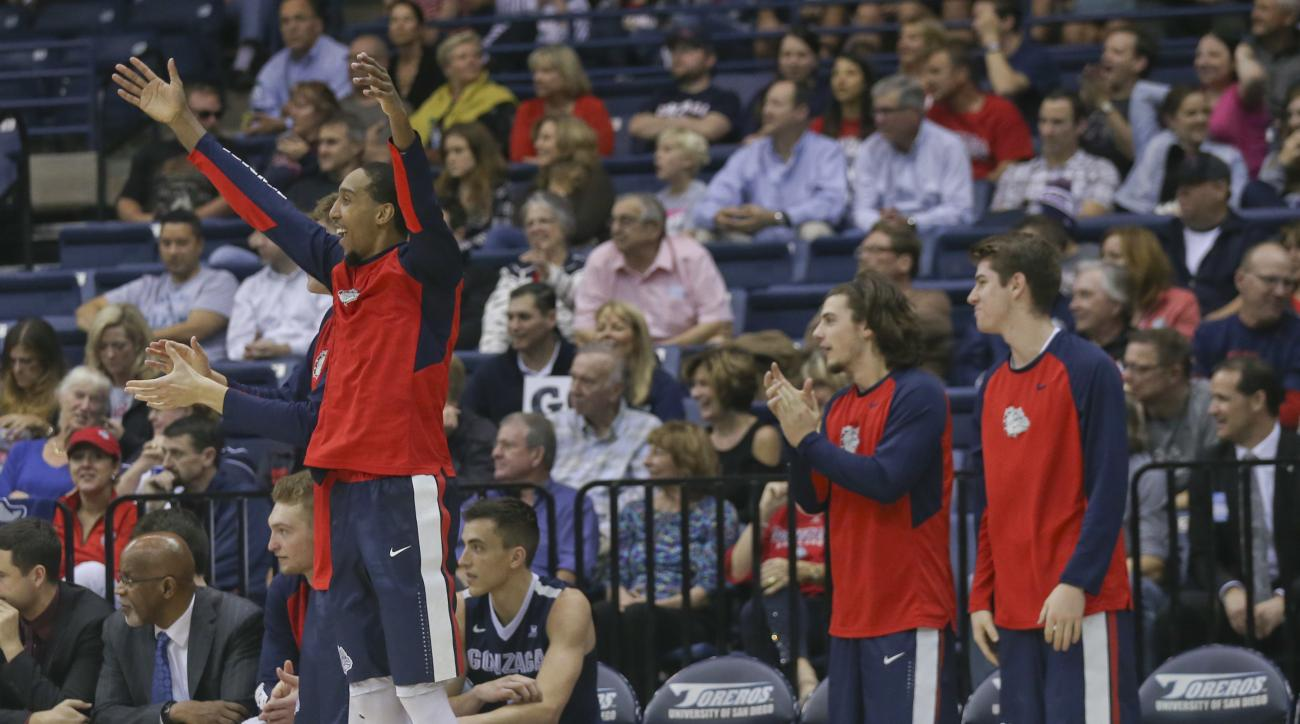 The Gonzaga bench celebrates a 3-point basket against San Diego during the second half of an NCAA college basketball game Thursday, Feb. 25, 2016, in San Diego. Gonzaga won 82-60.(AP Photo/Lenny Ignelzi)