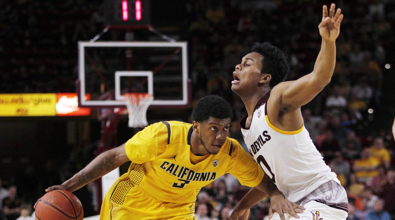 California guard Tyrone Wallace, left, dribbles the ball against Arizona State guard Tra Holder during the second half of an NCAA college basketball game in Tempe, Ariz., Saturday, March 5, 2016. California defeated Arizona State 68-65. (AP Photo/Ricardo