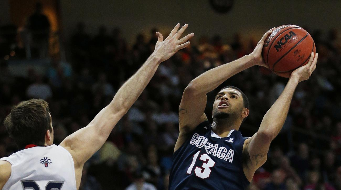 Gonzaga guard Josh Perkins shoots over Saint Mary's guard Joe Rahon during the first half of an NCAA college basketball game for the West Coast Conference men's tournament championship Tuesday, March 8, 2016, in Las Vegas. (AP Photo/John Locher)