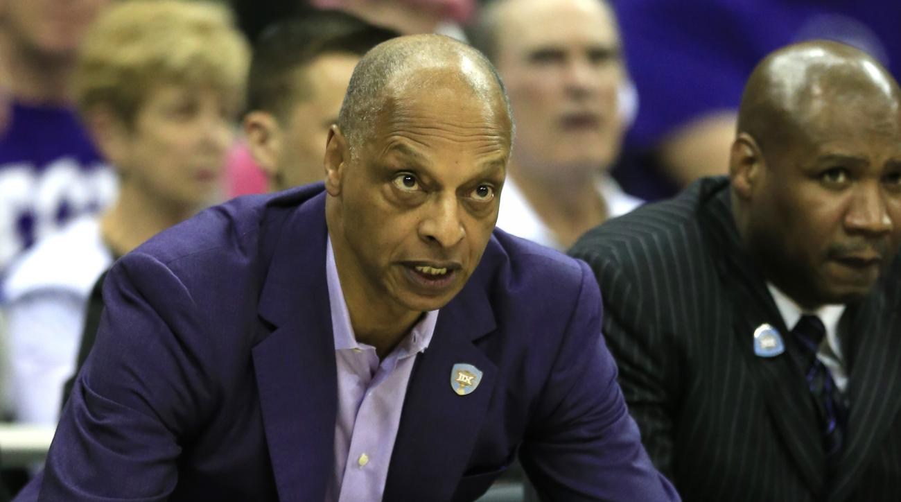 TCU head coach Trent Johnson instructs his team during the first half of an NCAA college basketball game against Texas Tech in the first round of the Big 12 conference tournament in Kansas City, Mo., Wednesday, March 9, 2016. (AP Photo/Orlin Wagner)