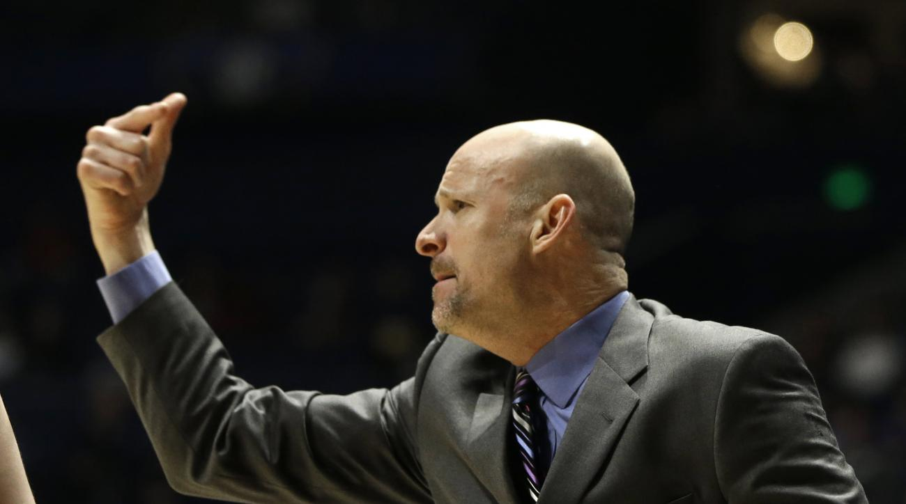 Mississippi head coach Andy Kennedy directs his team against Alabama during the first half of an NCAA college basketball game in the Southeastern Conference tournament in Nashville, Tenn., Thursday, March 10, 2016. (AP Photo/Mark Humphrey)