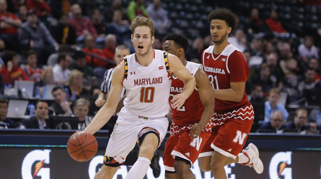 Maryland's Jake Layman (10) drives during the second half of an NCAA college basketball game against Nebraska in the quarterfinals at the Big Ten Conference tournament, Friday, March 11, 2016, in Indianapolis. (AP Photo/Kiichiro Sato)