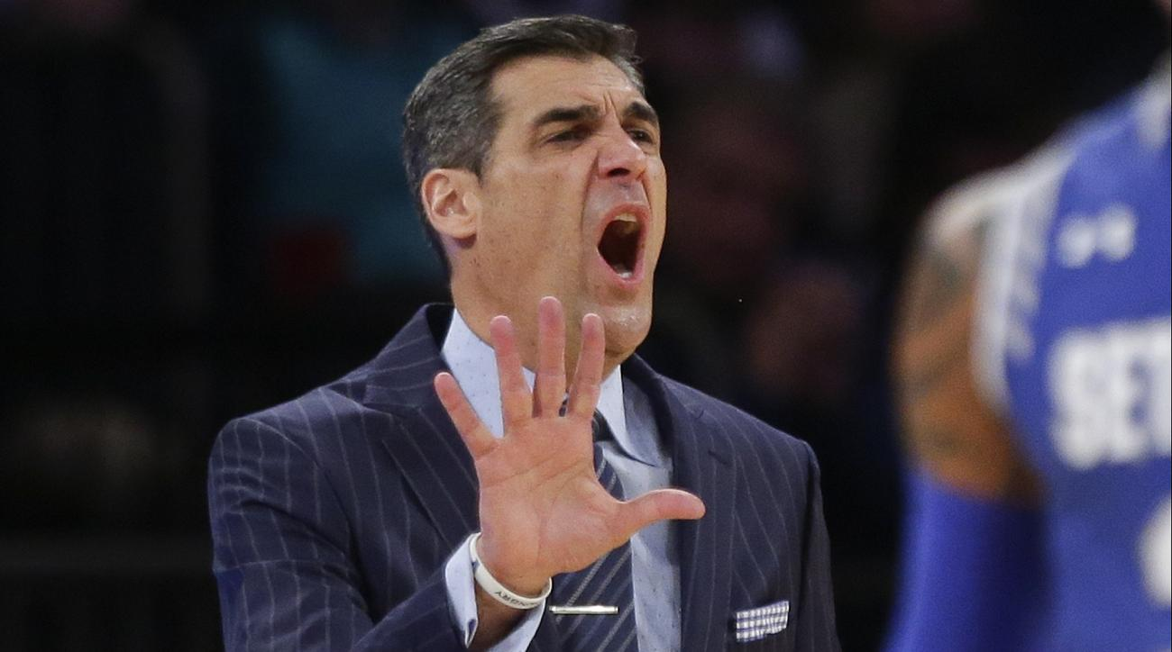 Villanova head coach Jay Wright calls out to his team during the first half of an NCAA college basketball game against Seton Hall during the Big East men's tournament Saturday, March 12, 2016, in New York. (AP Photo/Frank Franklin II)