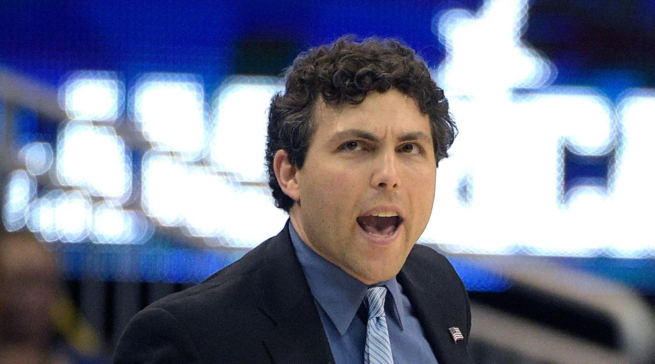 Memphis head coach Josh Pastner calls out instructions during the first half of an NCAA college basketball game against Tulane in the semifinals of the American Athletic Conference men's tournament in Orlando, Fla., Saturday, March 12, 2016. (AP Photo/Phe