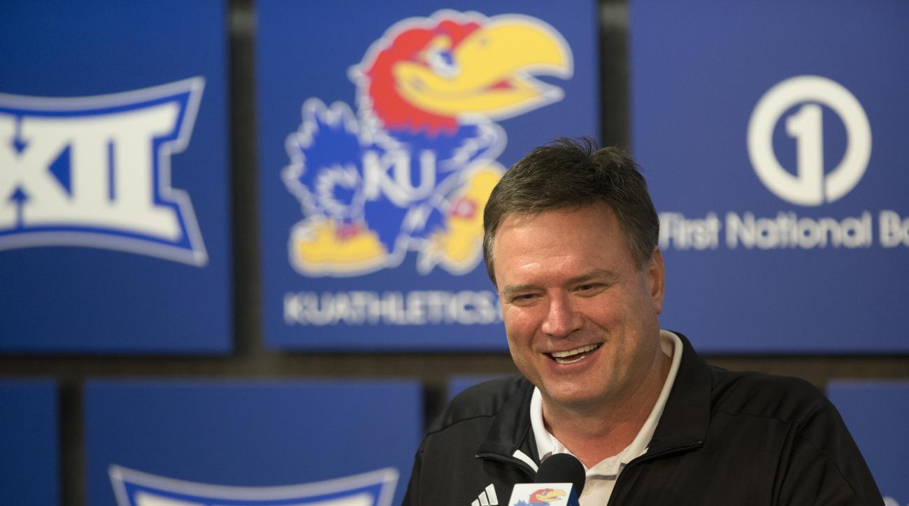 Kansas head coach Bill Self as he speaks to media members during a news conference following the NCAA Tournament selection show on CBS, Sunday, March 13, 2016 at Allen Fieldhouse on the campus of the University of Kansas in Lawrence, Kan. The Jayhawks wer