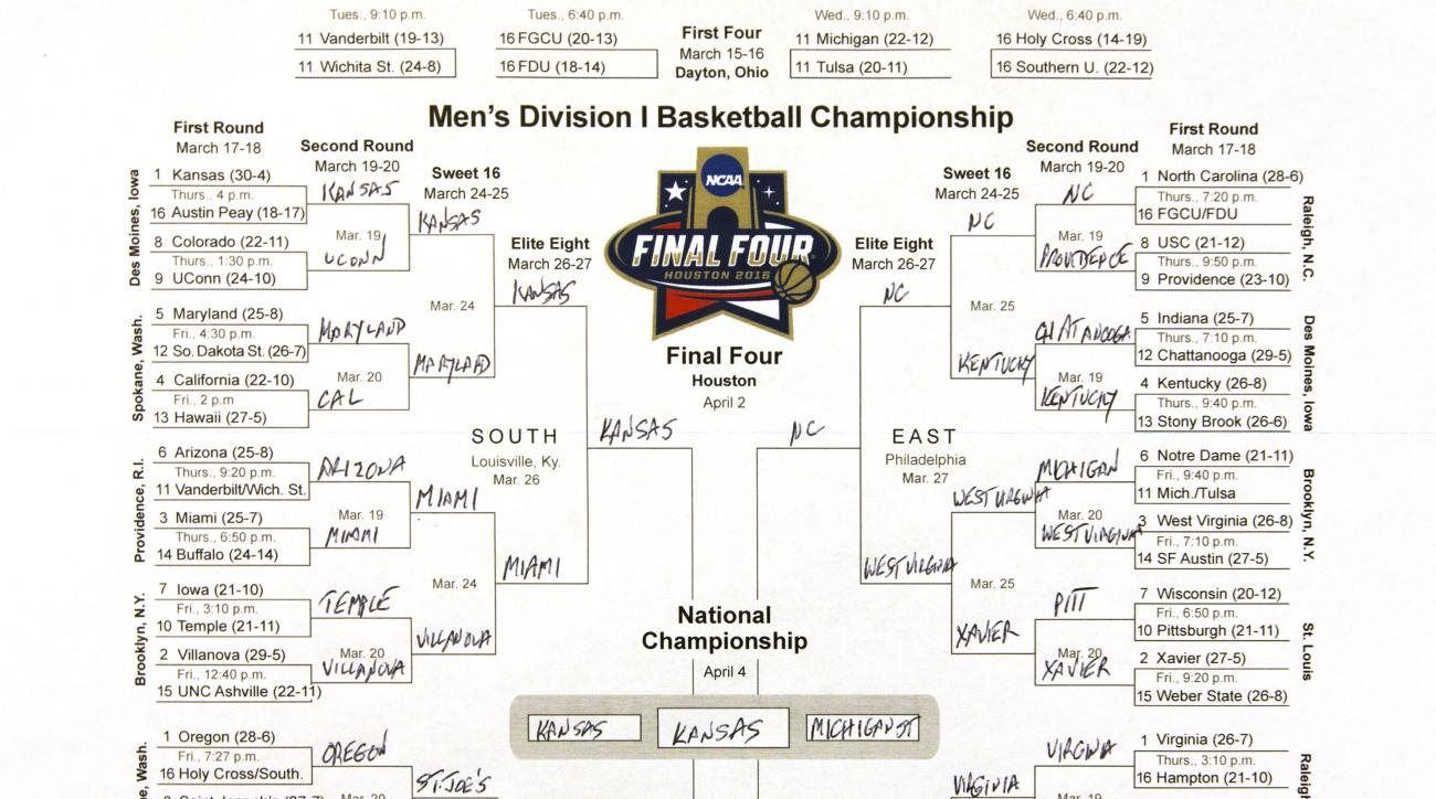 This photo shows the bracket of the NCAA college basketball tournament, taken in New York on Sunday, March 13, 2016. The filled out bracket is one man's opinion on which team is going to advance and find a way to Houston for the Final Four. (AP Photo/Hiro