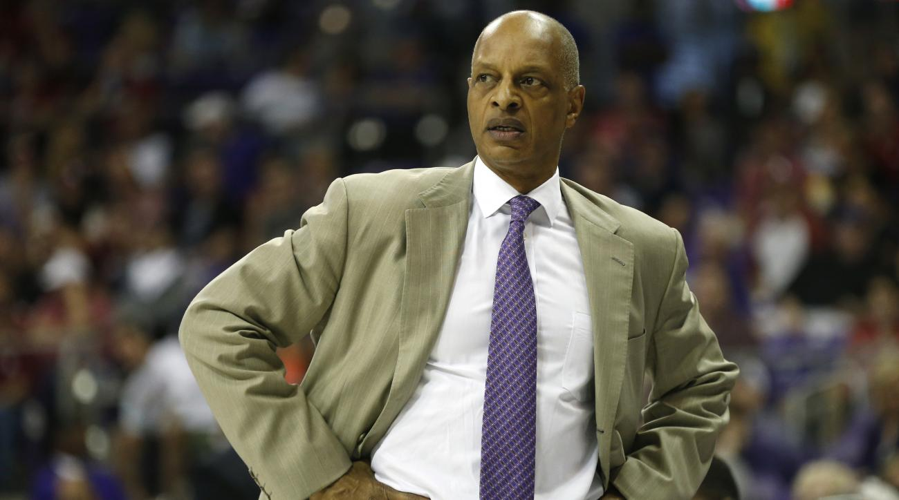 FILE - In this March 5, 2016, file photo, TCU head coach Trent Johnson watches from the sidelines during the second half of a college basketball game against Oklahoma, in Fort Worth, Texas. Trent Johnson was fired Monday, March 14, 2016, as TCU's basketba