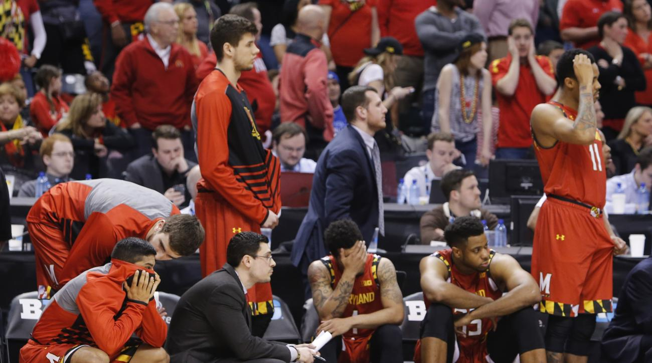 FILE - In this March 12, 2016, file photo, the Maryland bench reacts as they watch in the final seconds of an NCAA college basketball game against Michigan State during the semifinals of the Big Ten Conference tournament in Indianapolis. Ranked No. 2 in t