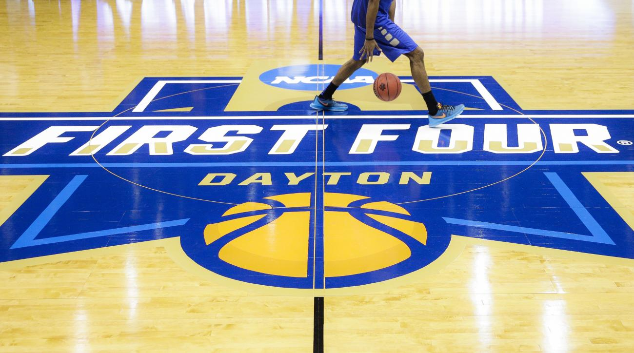 A Tulsa men's basketball player practices before the start of a First Four men's college basketball game in the NCAA Tournament Tuesday, March 15, 2016, in Dayton, Ohio. (AP Photo/John Minchillo)