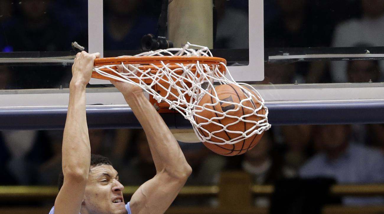 FILE - In this Saturday, March 5, 2016, file photo, North Carolina's Justin Jackson dunks against Duke during the second half of an NCAA college basketball game in Durham, N.C. Jackson says he's worked to get better at moving on from a bad outing and has