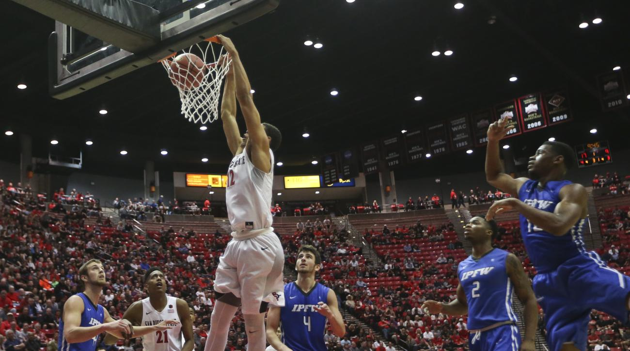 San Diego State guard Trey Kell slams in a dunk against IPFW in the first half of a NIT opening round NCAA college basketball game, Tuesday, March 15, 2016, in San Diego. (AP Photo/Lenny Ignelzi)