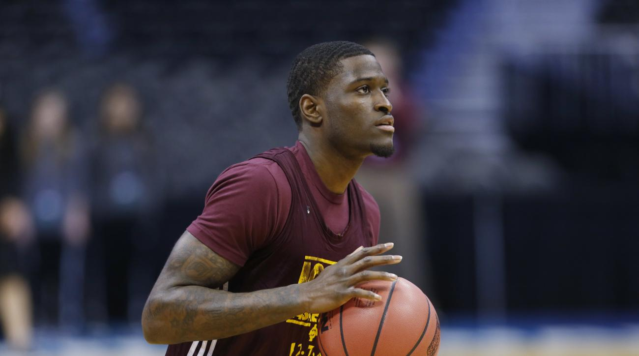 Iona guard A.J. English looks to shoot the ball during practice for a first-round men's college basketball game in the NCAA Tournament, Wednesday, March 16, 2016, in the NCAA Tournament in Denver. Iona takes on Iowa State on Thursday.  (AP Photo/David Zal