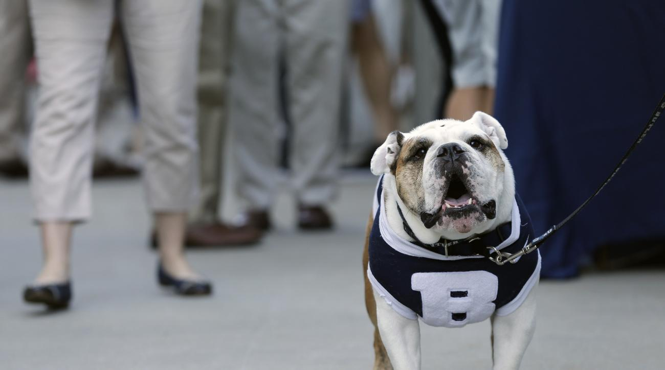 "The Butler mascot ""Butler Blue III"" sits outside the PNC Arena during a fan pregame tailgate event ahead of a first-round men's college basketball game in the NCAA Tournament between Butler and Texas Tech, Thursday, March 17, 2016, in Raleigh, N.C. NCAA r"