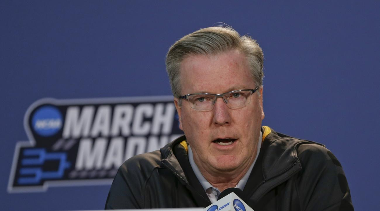 Iowa head coach Fran McCaffery responds to questions during a news conference before a first-round men's college basketball game against Temple in the NCAA Tournament Thursday, March 17, 2016, in New York. (AP Photo/Frank Franklin II)