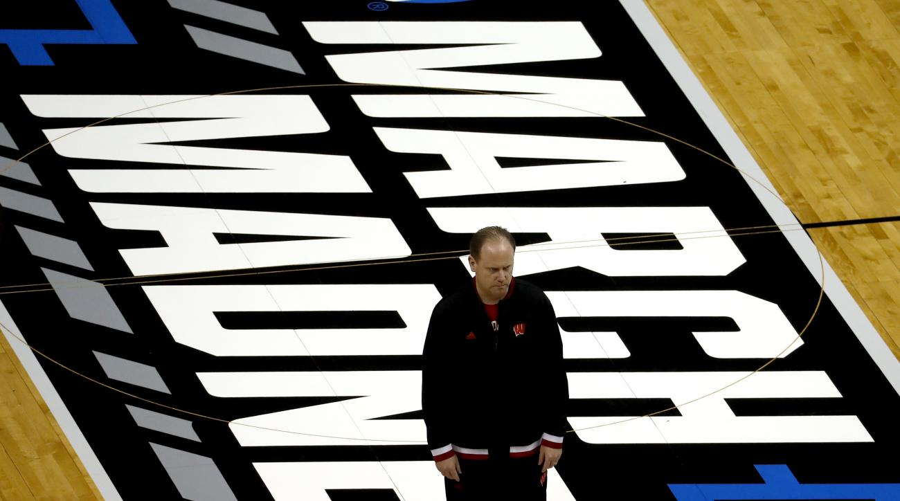 Wisconsin head coach Greg Gard watches during practice ahead of a first-round men's college basketball game in the NCAA tournament, Thursday, March 17, 2016, in St. Louis. Wisconsin plays Pittsburgh on Friday. (AP Photo/Charlie Riedel)