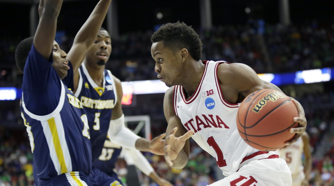 Indiana guard Yogi Ferrell drives to the basket during the second half of a first-round men's college basketball game against Chattanooga in the NCAA Tournament, Thursday, March 17, 2016, in Des Moines, Iowa. (AP Photo/Charlie Neibergall)