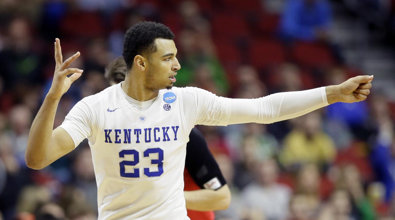 Kentucky guard Jamal Murray reacts after making a 3-point basket during the second half of a first-round men's college basketball game against Stony Brook in the NCAA Tournament, Thursday, March 17, 2016, in Des Moines, Iowa. Murray scored 19 points as Ke