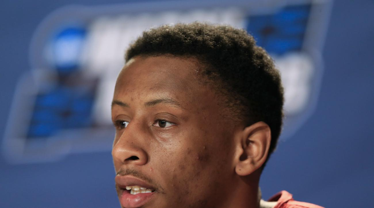 Indiana's Troy Williams speaks during a news conference ahead of a second-round men's college basketball game in the NCAA Tournament in Des Moines, Iowa, Friday, March 18, 2016. Indiana plays Kentucky on Saturday. (AP Photo/Nati Harnik)