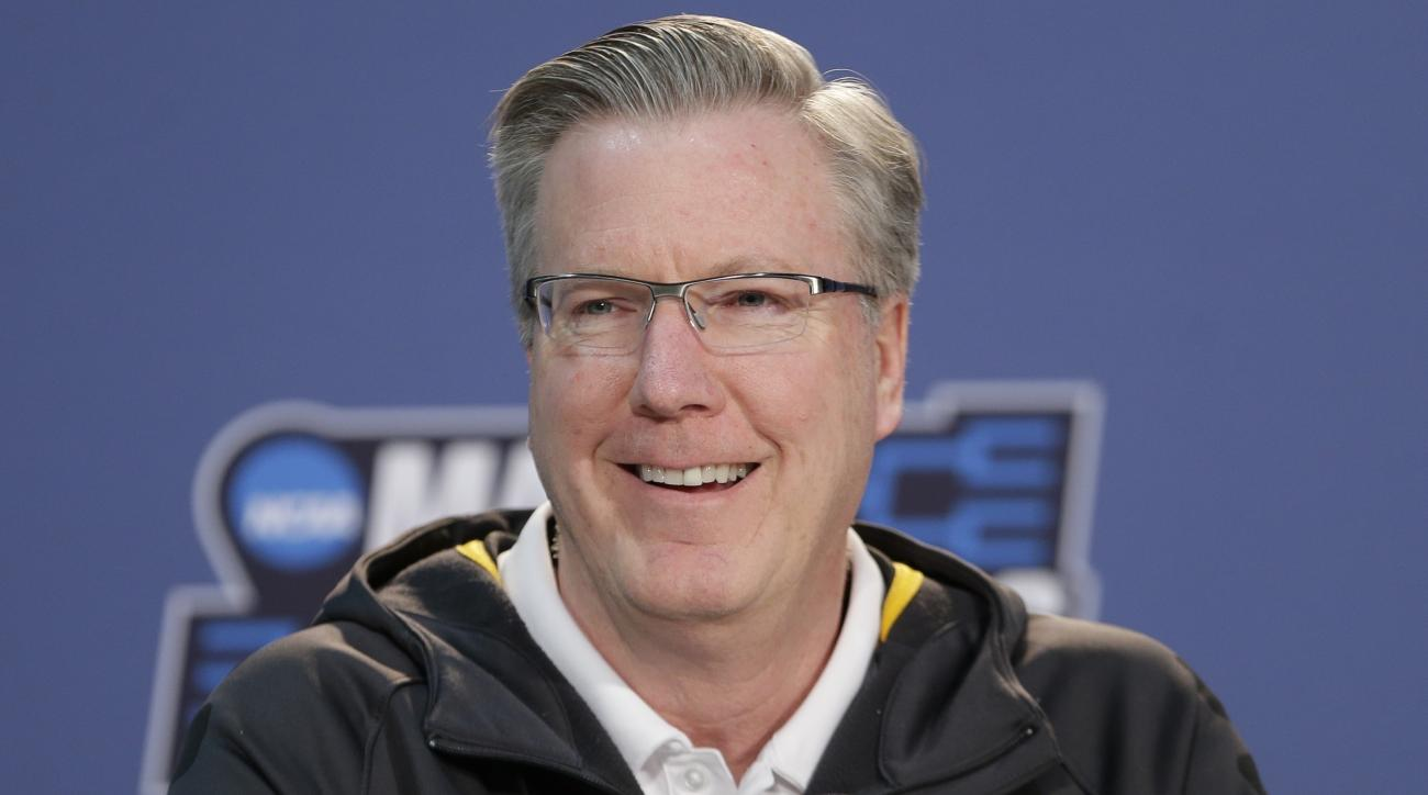 Iowa head coach Fran McCaffery responds to questions during a news conference before a second-round men's college basketball game against Villanova in the NCAA Tournament, Saturday, March 19, 2016, in New York. (AP Photo/Frank Franklin II)