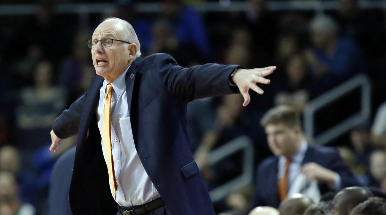 Miami head coach Jim Larranaga gestures during the first half of a second-round game against Wichita State in the NCAA men's college basketball tournament in Providence, R.I., Saturday, March 19, 2016. Miami won 65-57. (AP Photo/Michael Dwyer)