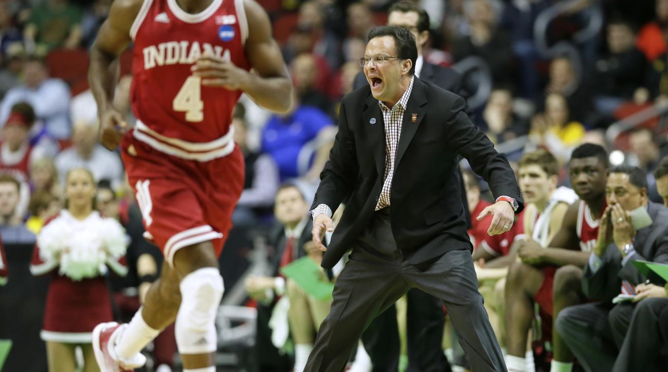 Indiana head coach Tom Crean directs his team during the first half of a second-round men's college basketball game against Kentucky in the NCAA Tournament, Saturday, March 19, 2016, in Des Moines, Iowa. (AP Photo/Charlie Neibergall)