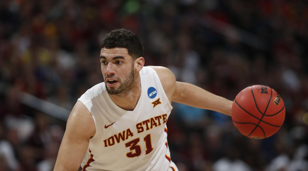Iowa State forward Georges Niang drives for a shot against Arkansas Little Rock during the second half of a second-round men's college basketball game Saturday, March 19, 2016, in the NCAA Tournament in Denver. Iowa State won 78-61. (AP Photo/David Zalubo
