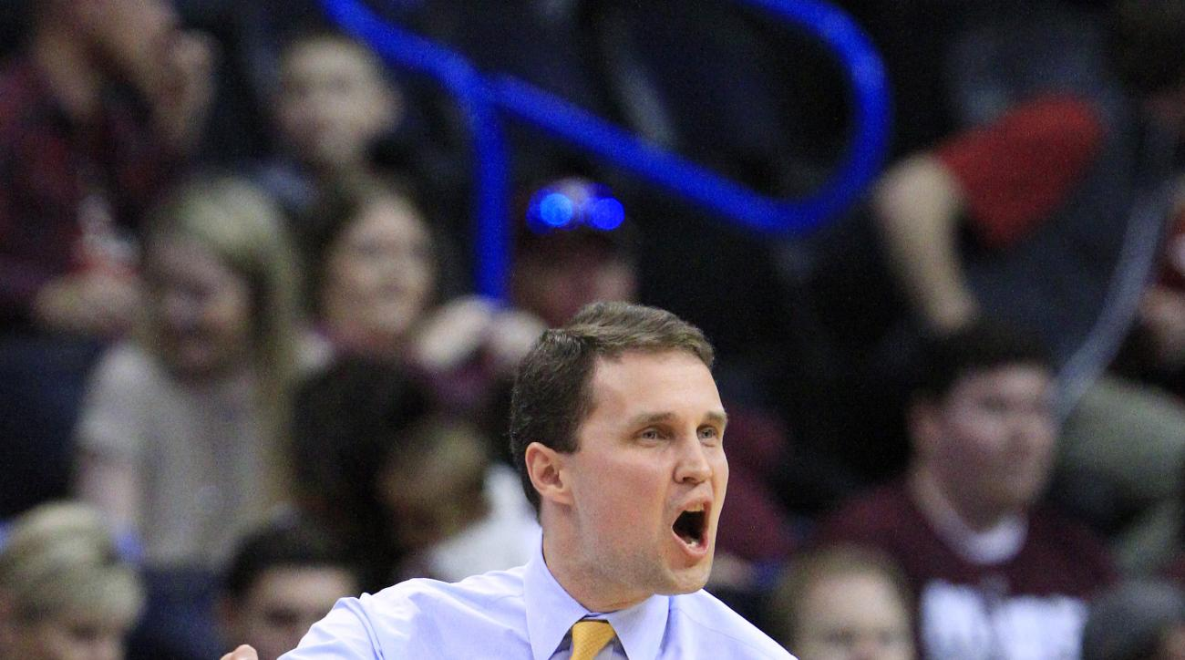 VCU head coach Will Wade reacts to a play against Oklahoma in the first half during a second-round men's college basketball game in the NCAA Tournament in Oklahoma City, Sunday, March 20, 2016. (AP Photo/Alonzo Adams)