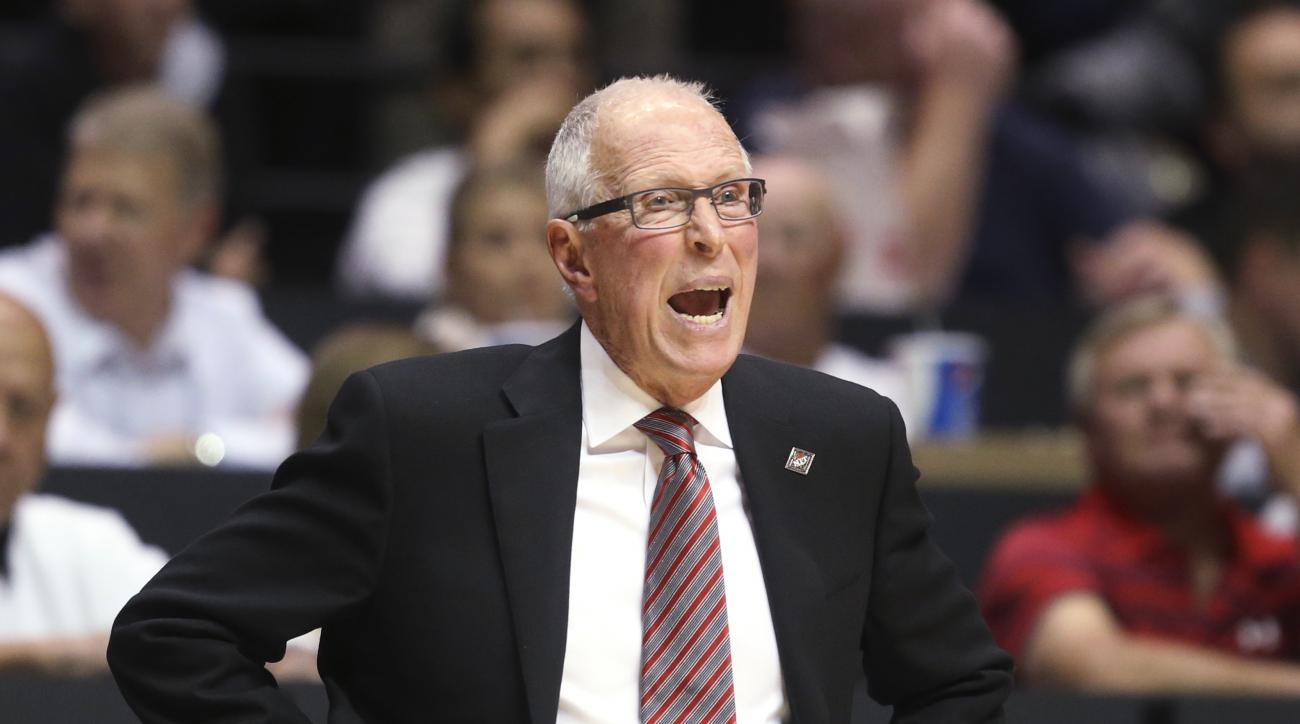 San Diego State coach Steve Fisher shouts to his team during the first half against Georgia Tech in an NCAA college basketball game in the men's NIT, Wednesday, March 23, 2016, in San Diego. (AP Photo/Lenny Ignelzi)