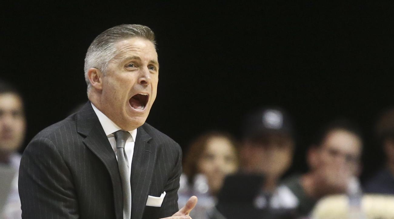 Georgia Tech coach Brian Gregory shouts to his team during the first half of against San Diego State in an NCAA college basketball game in the men's NIT on Wednesday, March 23, 2016, in San Diego. (AP Photo/Lenny Ignelzi)